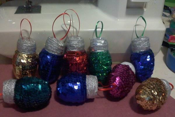 sequin lightbulb ornaments
