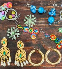 Women's jewellery. Various types of earrings very colourful.